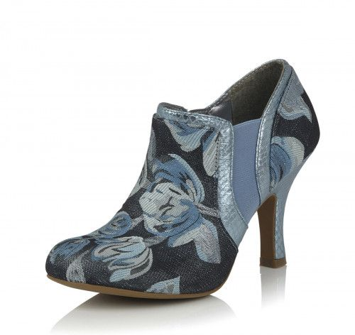 Ruby Shoo NEW Juno navy blue crushed velvet high heel shoes boots sizes 3-8