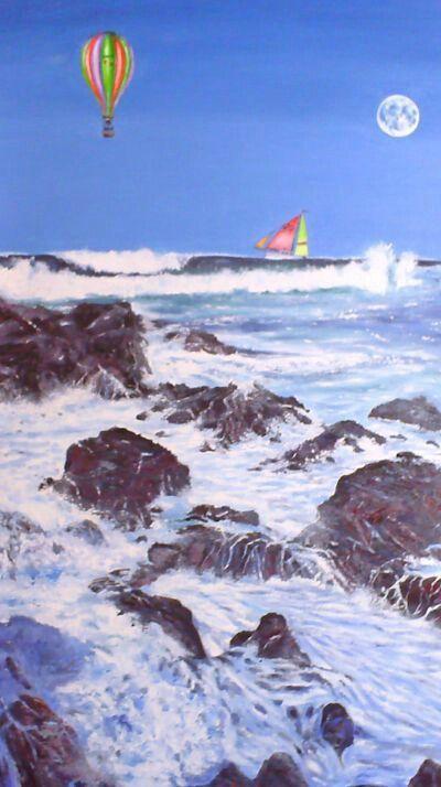 Costa del Sol, óleo sobre tela.  Juan Antonio Bribiesca Arias