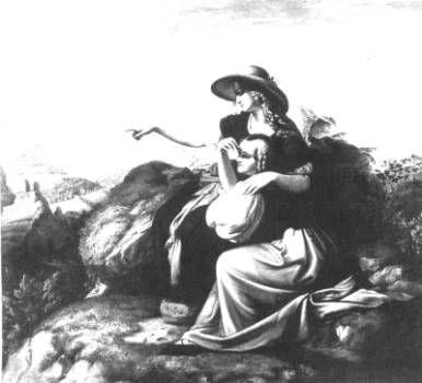 """Carl Joseph Begas """"Zwei Mädchen auf dem Berge"""" Gemälde, gefunden bei annatextiles.ch"""