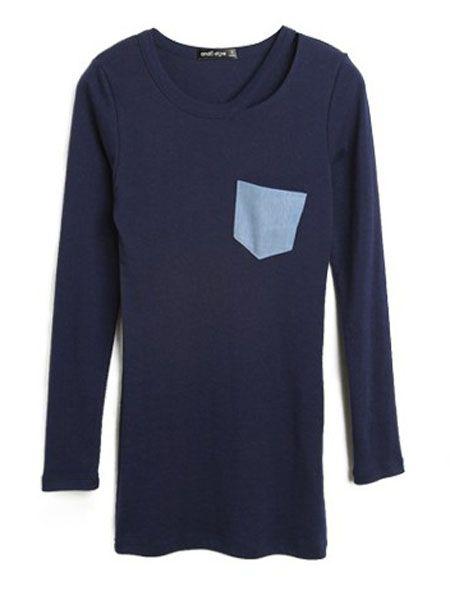 Navy Contrast Pocket Round Neck Long Sleeve T-Shirt