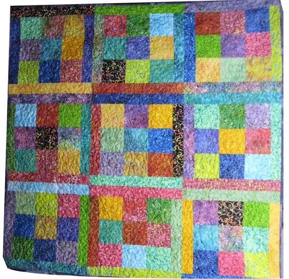 Throw Quilt in Bright Batiks by Sieberdesigns on Etsy