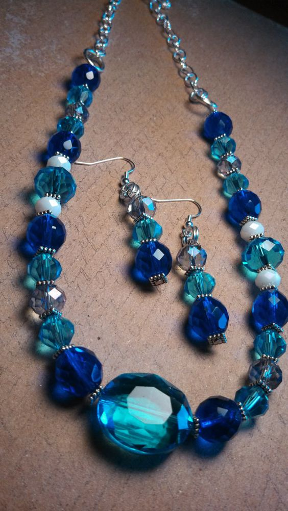 Blueberry and Teal Glass bead Necklace with Metal Accents and matching earings