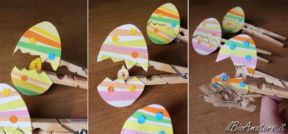 Cosa si può fare con qualche molletta da bucato, colori e cartoncino e un po' di tempo libero? Ecco due simpatici soggetti pasquali che ho realizzato in questi giorni, molto divertenti da realizzare soprattutto con i bambini, provare per credere! :) Con dei cartoncini colorati ho realizzato delle uova e…