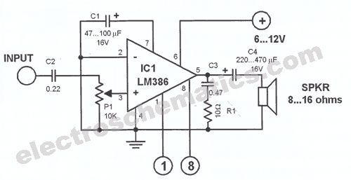 audio amplifier schematic  lm386 3 options