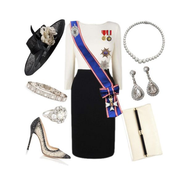 """""""Order of Merit Ceremony"""" by nmccullough ❤ liked on Polyvore featuring Gianvito Rossi, Diane Von Furstenberg, Philip Treacy and Blue Nile"""