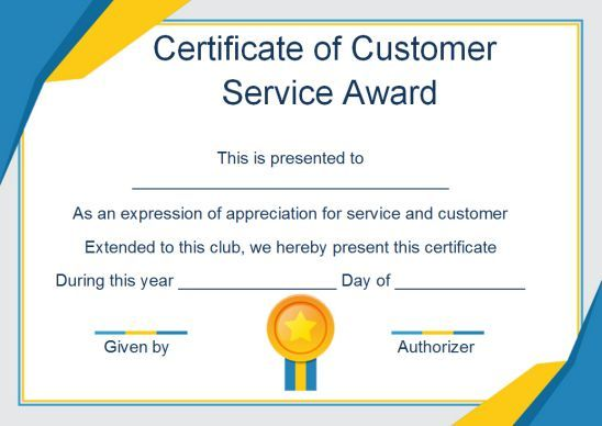 Customer Service Award Certificate 10 Templates That Give You Perfect Words To Award Templ In 2020 Awards Certificates Template Certificate Templates Service Awards