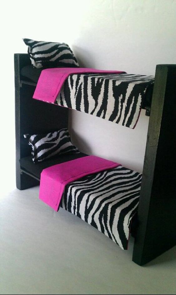 This bunkbed set is highly recommended for Barbie, Monster High, or Bratz Dolls. Includes: Wooden Bunk Beds 13L x 5W x 11H Painted in 2