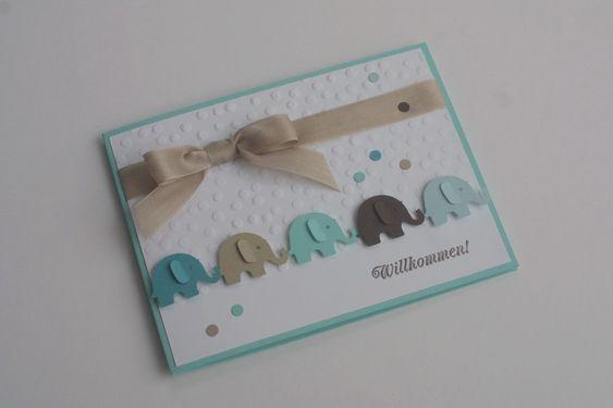 """Baby Karte Geburt Junge """"Elefantenparade"""" von Das Werk der Feen auf DaWanda.com"""