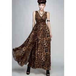 $17.20 V-Neck High Waist Leopard Sleeveless Chiffon Summer Casual Dress For Women