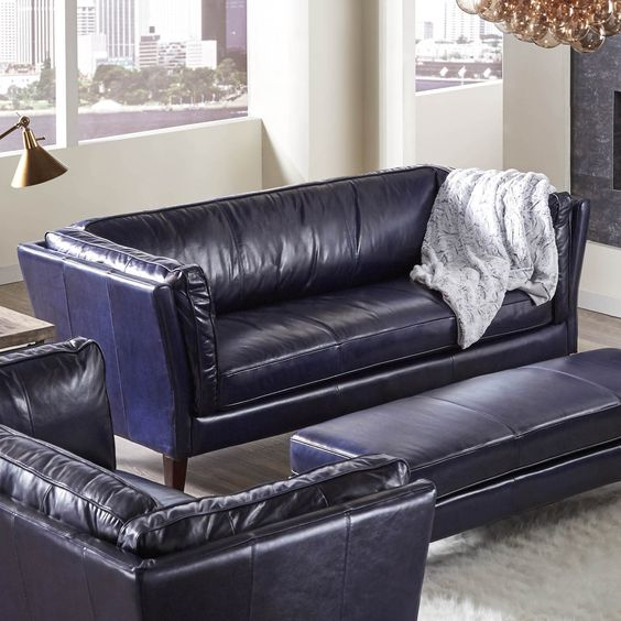 Alberta Sofa in Black | Lazzaro Leather | Home Gallery Stores