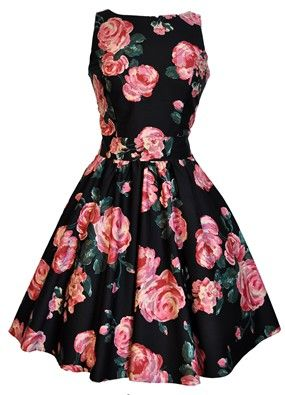 Black & Pink Rose Tea Dress: