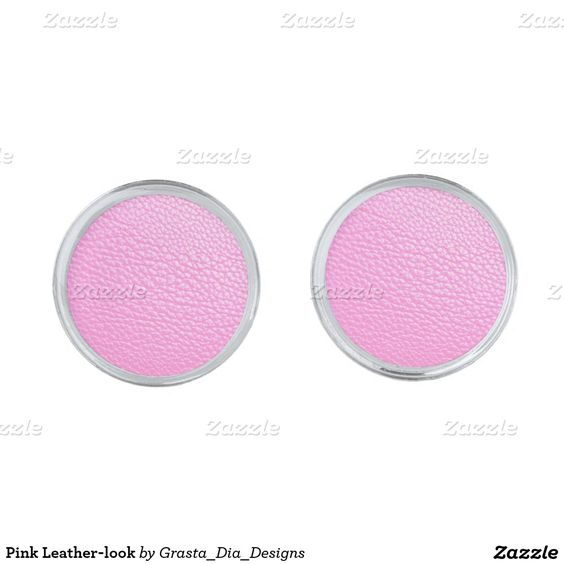 Pink Leather-look Silver Finish Cuff Links