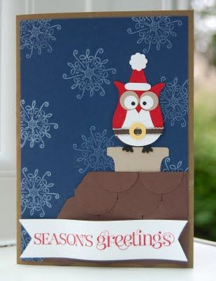 handmade Christmas card ... dark blue sky with snowflakes ... scalloped rooft...
