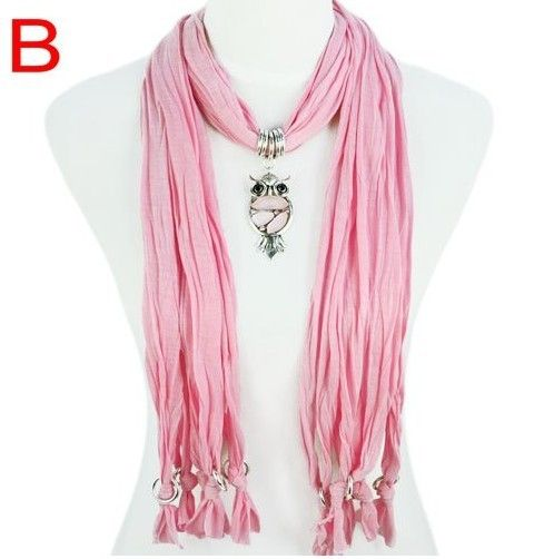 Stylish Charm Accessories Scarf Wholesale For Ladies Canada - Pink Scarf with owl Pendant from www.jewelryscarfcanada.com