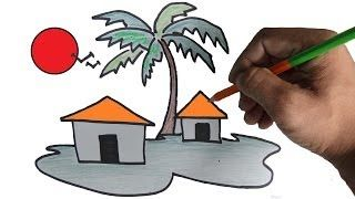 how to draw a hut step by step - YouTube