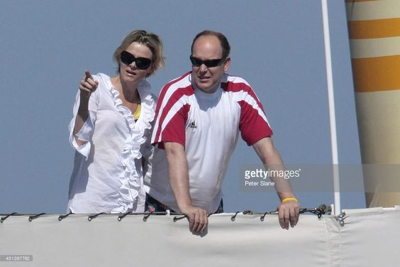 Princess Charlene of Monaco and Prince Albert II of Monaco are seen on The Pacha III yacht during Princely Family of Monaco holidays on July 06, 2009 in Saint-Tropez, France.