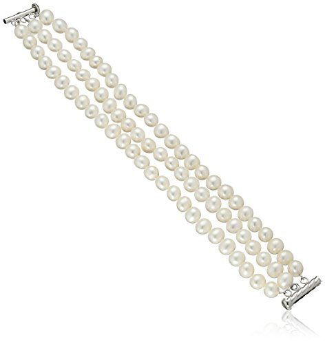 """Sterling Silver 3-Row White Freshwater Cultured A Quality Pearl Bracelet, (7.5-8mm) 8"""" >>> Click image to review more details."""