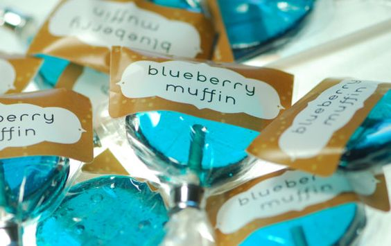 12 Blueberry Muffin Lollipops  artisan hard by ThisCharmingCandy, $30.00