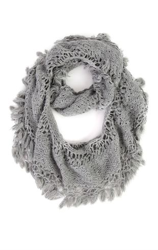 Crochet Knit Infinity Scarf with Fringe - $12