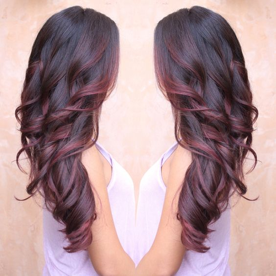 Burgundy and red colormelt , Balayage