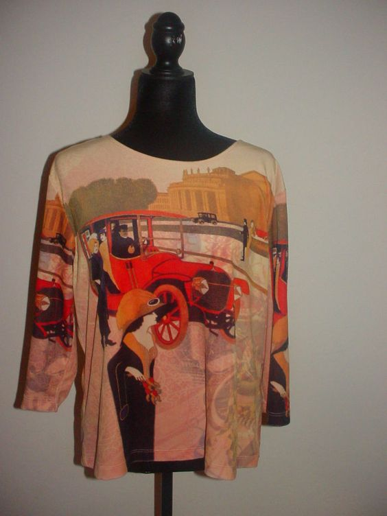 Vintage Graff Womens Velour Style Top W/ Roaring 20's Theme Print XL Long Sleeve #Graff #KnitTop #Casual