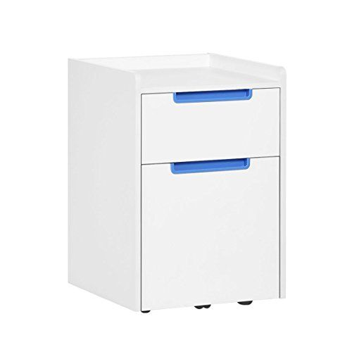 Devaise 2 Drawer Wood Mobile File Cabinet With Wheels Letter Size A4 White Blue Filing Cabinet Mobile File Cabinet Cabinet