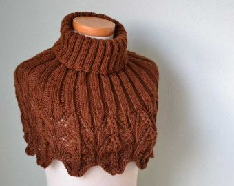 Red brown lace knitted capelet E437