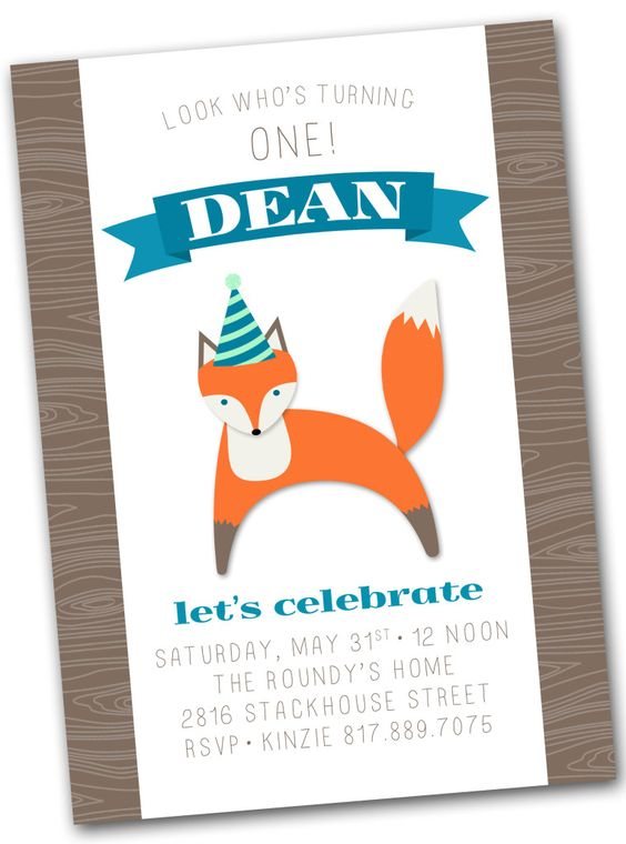 Fox Birthday Party Invitation
