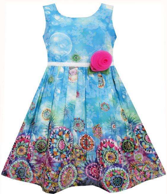 Mädchen Kleid Ärmellos Himmel Blase Blume Malerei Stil Blau