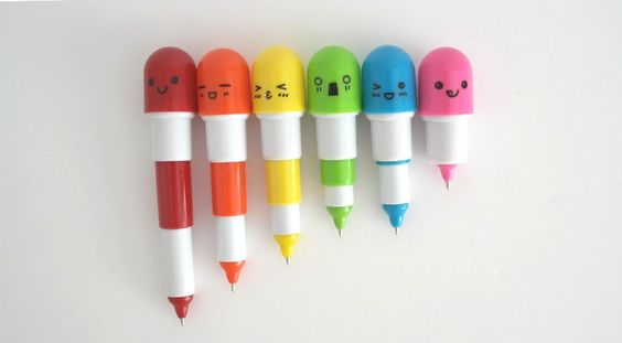 Pack of 6 Kawaii Multicolored Retractable Ball point Pill Pens stocking stuffers gifts // cheaper postage fees / Price for 5 and 6th is free (8.50 GBP) by OSUStationery