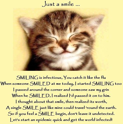 Image result for poem smiling is infectious