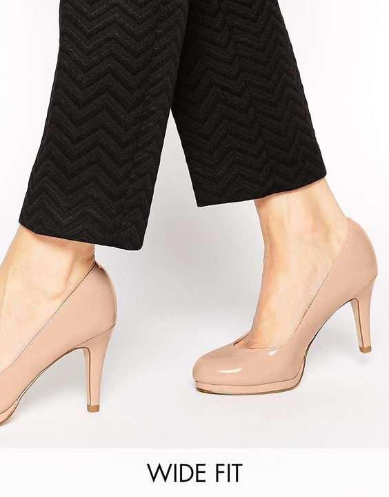 Image 1 of New Look Wide Fit Renovate Patent Nude Heeled Pumps