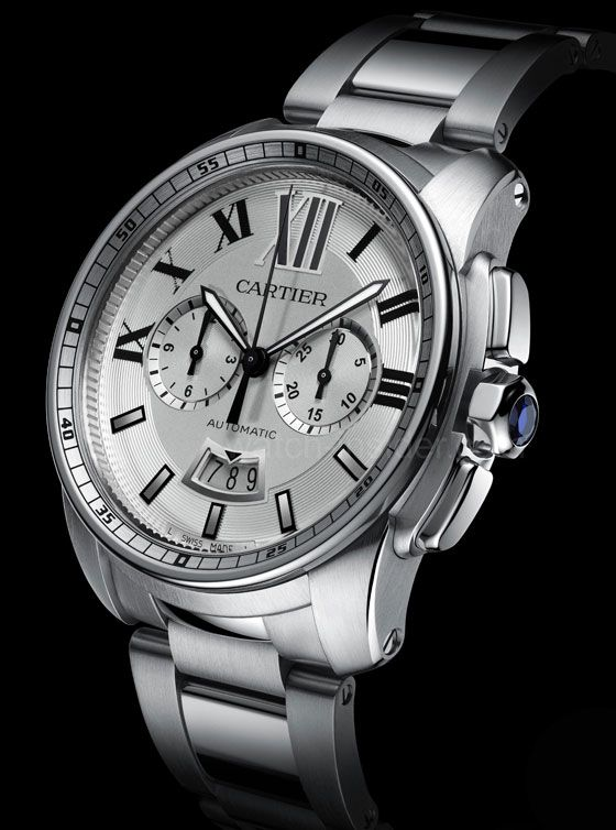 Cartier Calibre de Cartier Chronographe: Cartier has made great strides recently in becoming a true manufacture. The brand now offers numerous watches with in-house movements to its customers. The Chronographe is equipped with Caliber 1904-CH MC. The watch shown here, with a steel bracelet, sells for €9,050.