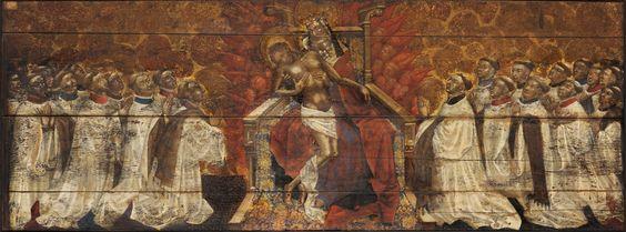 Maitre de Dunois, la Trinité aux chanoines, vers 1450, paris Ensba, collège des chanoines de Notre-Dame en procession, vision de la trinité, panneau se trouvait au début du XIXe ds chapelle st aignan à paris