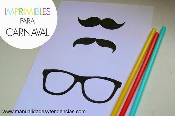 Imprimibles de Carnaval gratis / Free carnival printable | Aprender manualidades es facilisimo.com