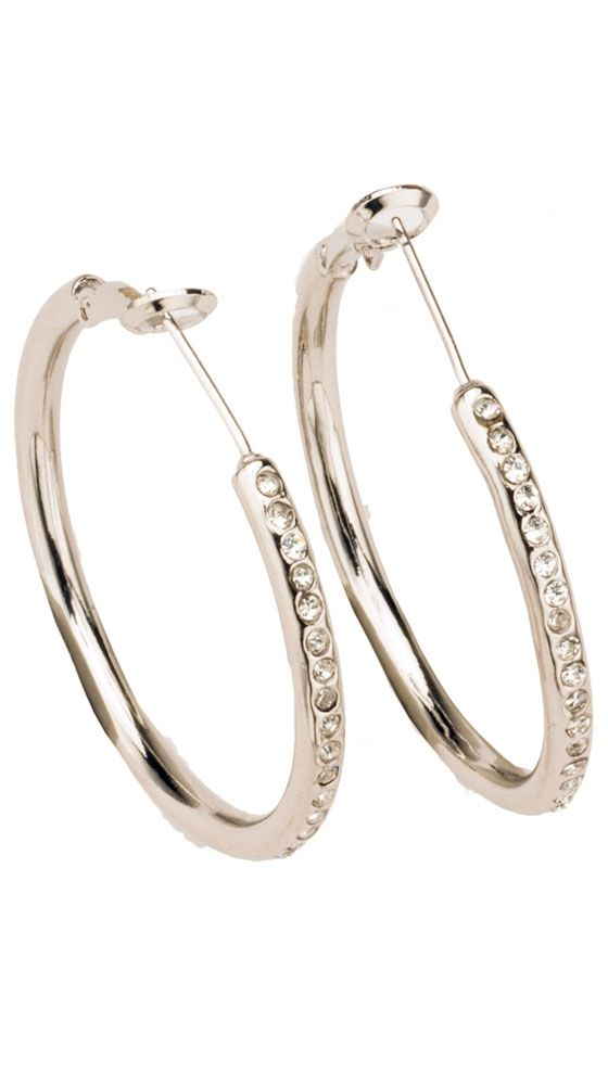 Swarovski Element Crystal Hoops - Silver by Unchained Charms 18k Collection $22