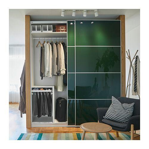 Kleiderschrank Lamellentüren Ikea.Pax Wardrobe White Hokksund High Gloss Hokksund Dark
