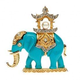 Hattie Carnegie Elephant Brooch 60's