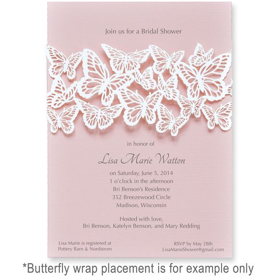 Wedding - Party Invitations | Unique Laser Cut Invites-Butterfly