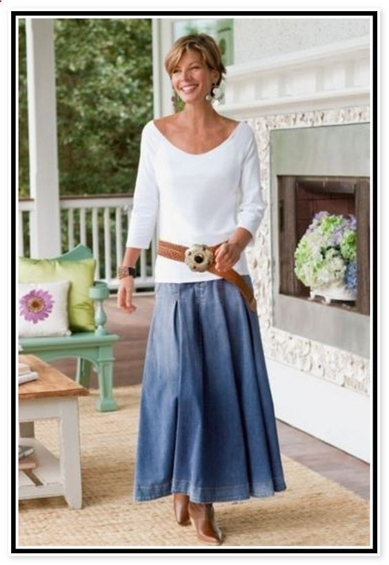 Jeans for Women Over 50 | ... Trends Gallery > Fashion Outfit > Denim Skirts For Women Over 50 #over50fashionforwomen