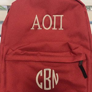 One of our customers used 3 Letter Satin Circle #Monogram Machine #Embroidery Small Satin Font to embroider monogram on a backpack.