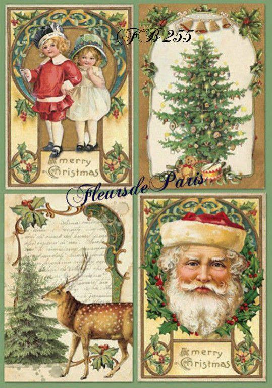Rice Paper Christmas Eve with Santa Decoupage Scrapbook Sheet Craft