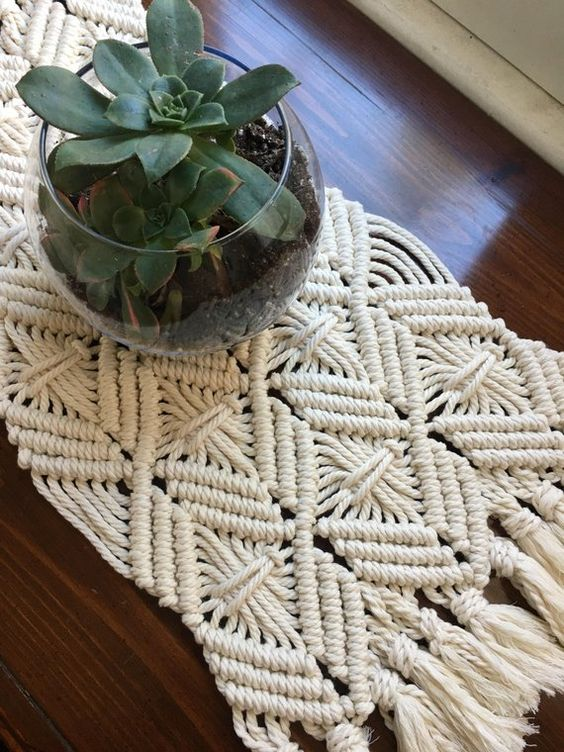 Macrame Table Runner Dining Room Macrame Table Runner Modern | Etsy