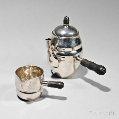 Georg Jensen Sterling Silver Coffeepot and Creamer, Copenhagen, c. 1930, pattern no. 1A, each with a double-gourd form and side-mounted handle, c