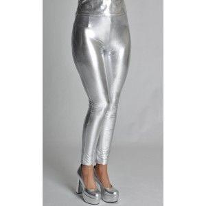 Déguisement legging argent deluxe femme, legging stretch argent spandex.