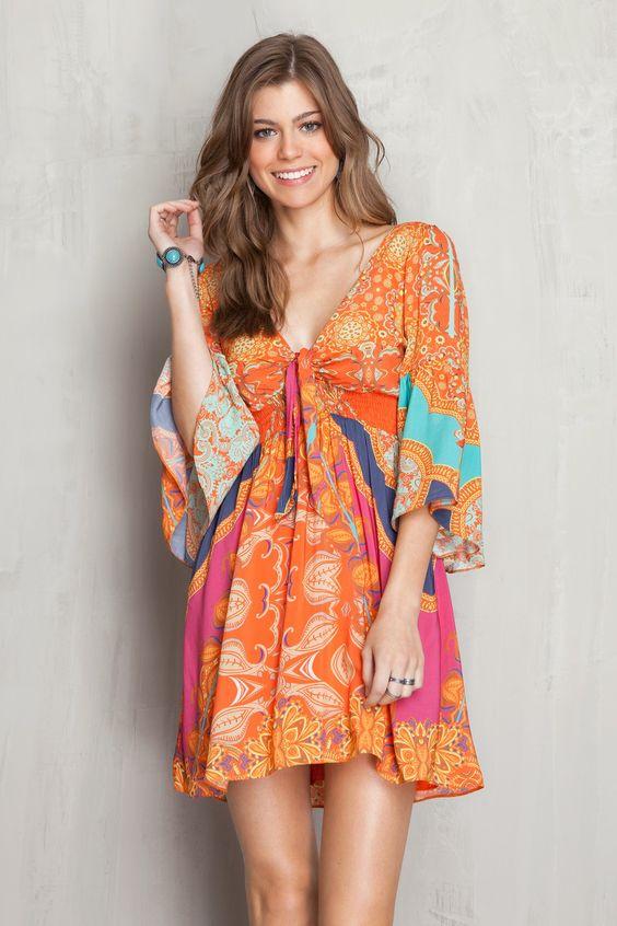 Vestido decote nó estampado salines   Dress to