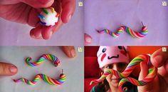 Crea unos pendientes dobles de arcoiris en remolino. Chicas, esto es fantástico……