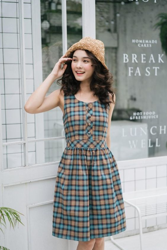 Summer Dress Plaid Dress Blue Brown Vintage Style Sundress Swing Dance Dress Checker Dress Henley Dr