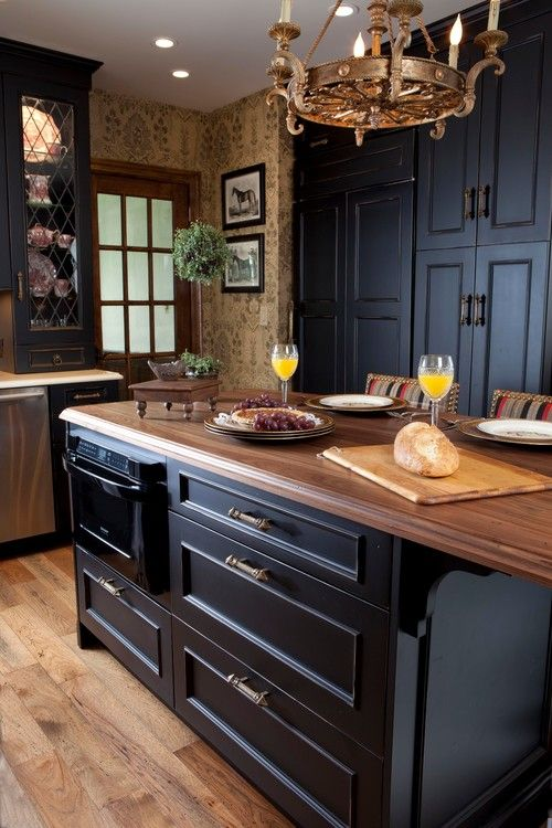Black Kitchen With Equestrian Touch Town Country Living Designs Design