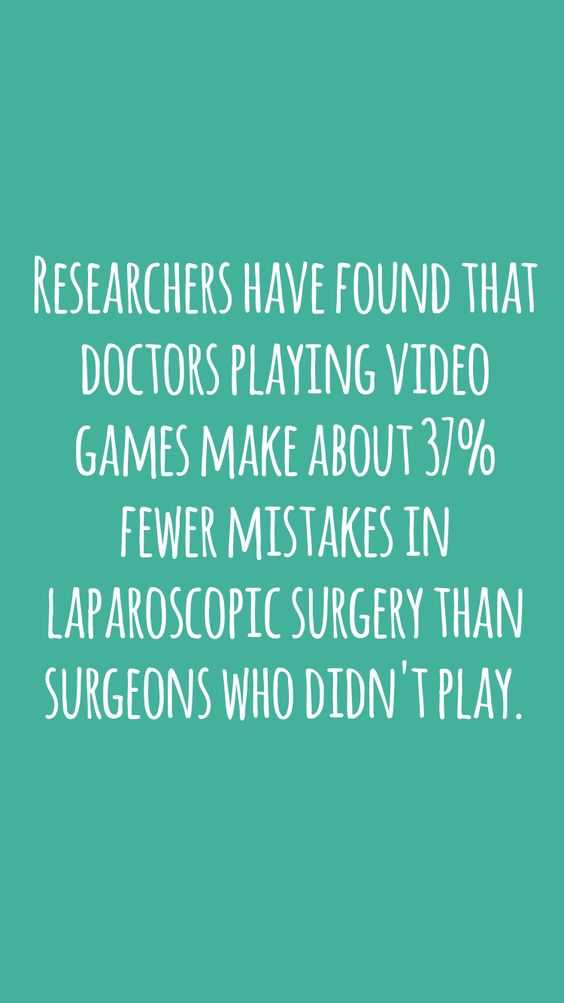 Researchers have found that doctors playing video games make about 37% fewer mistakes in laparoscopic surgery than surgeons who didn't play. #didyouknow #fact #interesting #random
